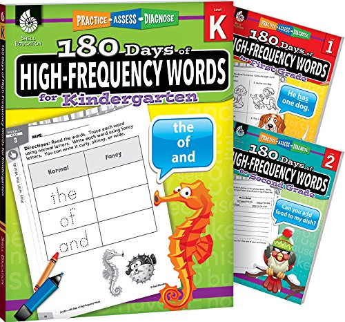 180 Days of High-Frequency Words for Grades K-2 (Set of 3), Includes One Workbook Per Grade Level for Daily Sight Word Practice (180 Days of Practice)