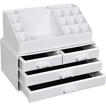 de madera DM blanca Caja multiusos WoodLuv organizador de maquillaje con 3/cajones y 8/compartimentos