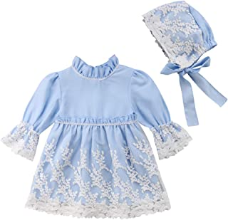 Kid Baby Girls Long Sleeve Lace Formal Party Wedding Princess Flower Girl Dress with Bonnet