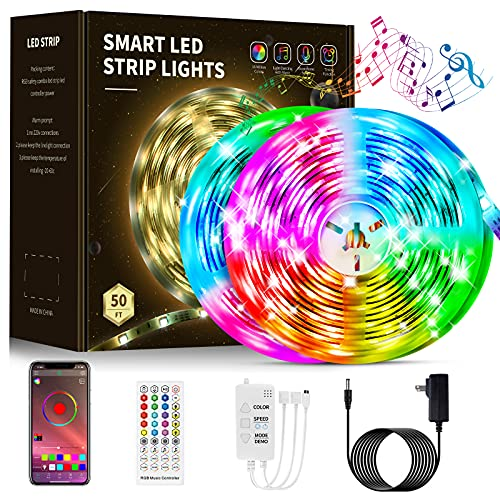 Led Lights Smart led Strip Lights 50ft-Led Music Sync Color Changing Lights with Music Remote Controller and App Control,Led Lights for Bedroom,Kitchen,Party Home Decoration