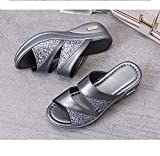 ypyrhh Sandale Confortable Classique,Sandales compensées extérieures et Pantoufles,Sandales Confortables pour Femmes-Argent_41,Sandales à Bout Ouvert pour Femmes