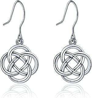 Sterling Silver Celtic Knot Earrings for Women Irish Good Luck Drop Dangle Hook Small Earrings
