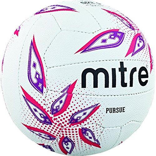 Mitre Pursue Netball, Unisex, Blanco/Magenta/Púrpura, 5 ✅