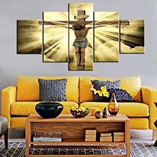House Decorations Living Room Wall Decor Jesus Crucified on the Cross Canvas Christ Religious Paintings 5 Panel Posters and Prints Pictures Home Decor,Giclee Artwork Framed Ready to Hang(60''Wx32''H)
