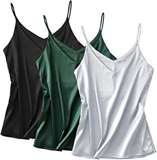 Basic 3 Pack Women's Silk Tank Top Ladies V-Neck Camisole Silky Loose Sleeveless Blouse Tank Shirt with Soft Satin