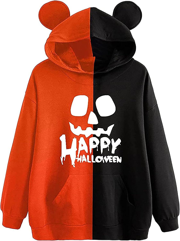 977 Women's Bear Ear Halloween Print Pullover Hoodie Cute Long Sleeve Casual Shirt Color Block Plus Size Blouse