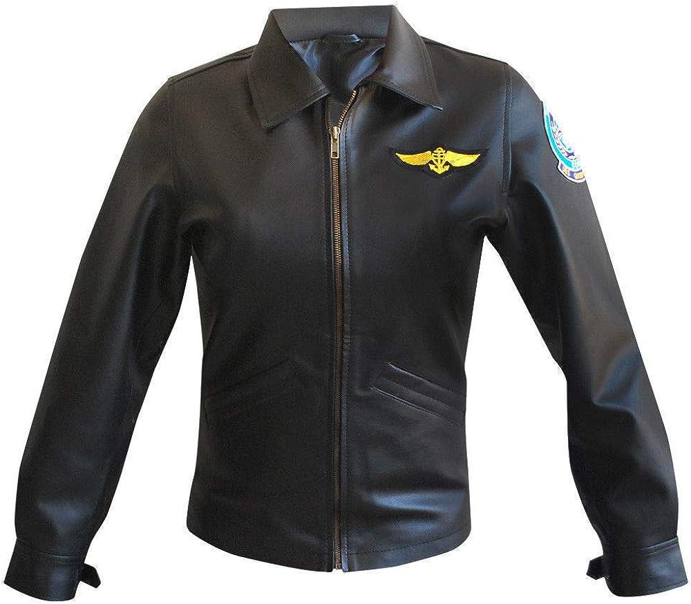 III-Fashions Women's Top Kelly McGillis Charlie Aviator Flight Gun Pilot Black Leather Jacket
