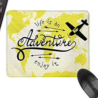 HMdy88PT Adventure Life is an Adventure Quote Map of The World Small Airplane Traveling Art Print Small Mouse padinch W8 xL9.5 Yellow Black