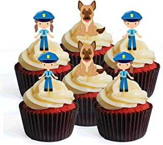 Police Officer Theme Emergency Services Edible Cupcake Toppers - Stand Up Wafer Cake Decorations (Pack of 24)
