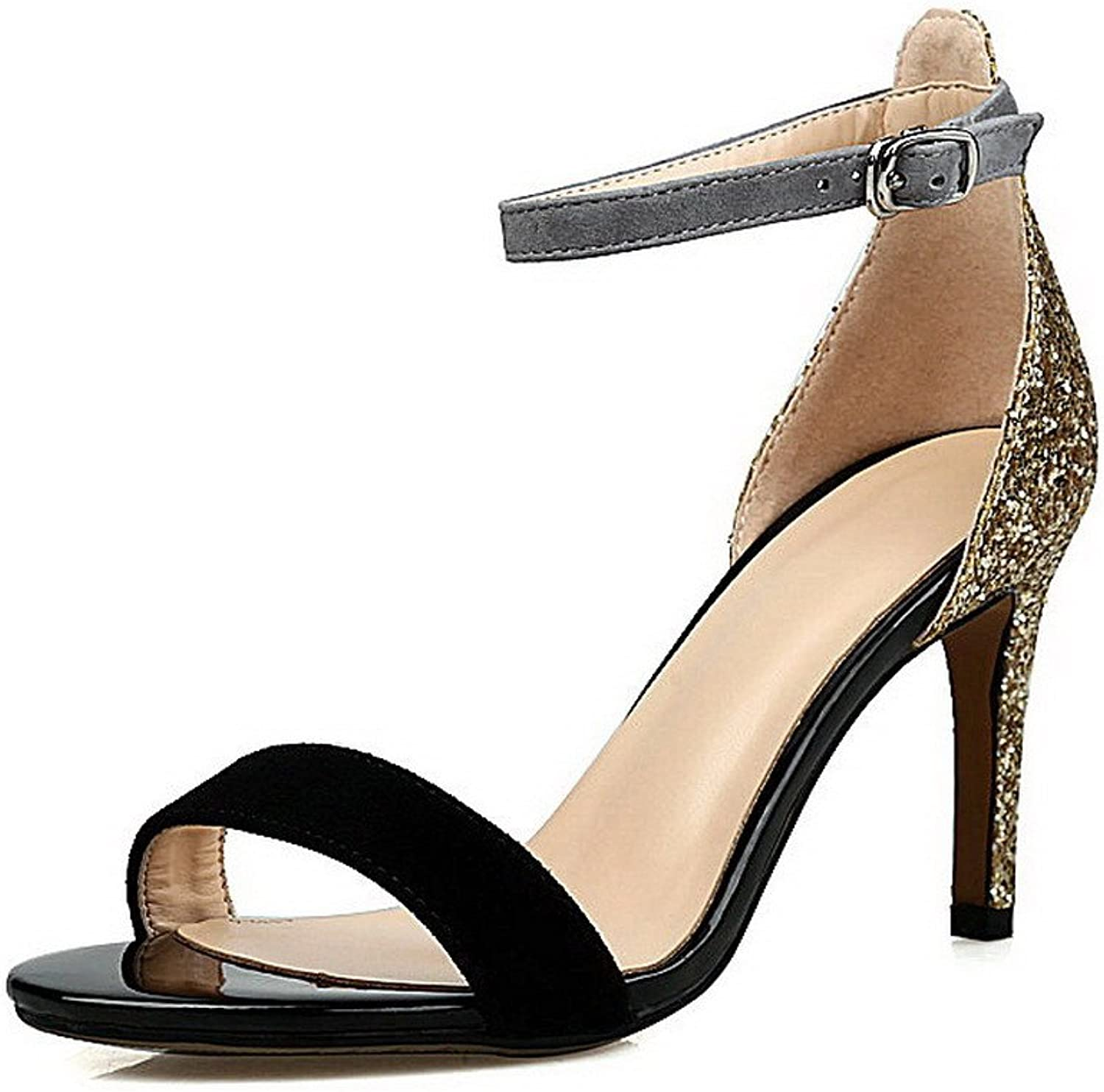 AmoonyFashion Women's Blend Materials Assorted color Buckle Open-Toe High-Heels Sandals