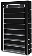 Shoe Rack Storage, Multiple Combination 60 Pairs 10 Tier Shelf Portable Metal Pipes Organizer Stand with Waterproof Fabric Tiers, Easy Assemble Black Cover