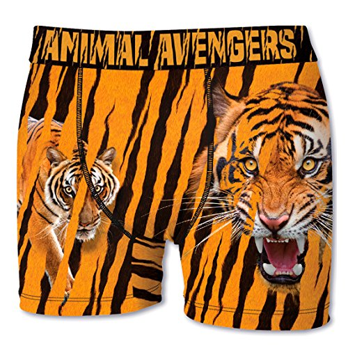 Crazy Boxer Herren Boxershort/Retroshort Fun-Edition, MEGA-Designs (S/4/46, Tiger)