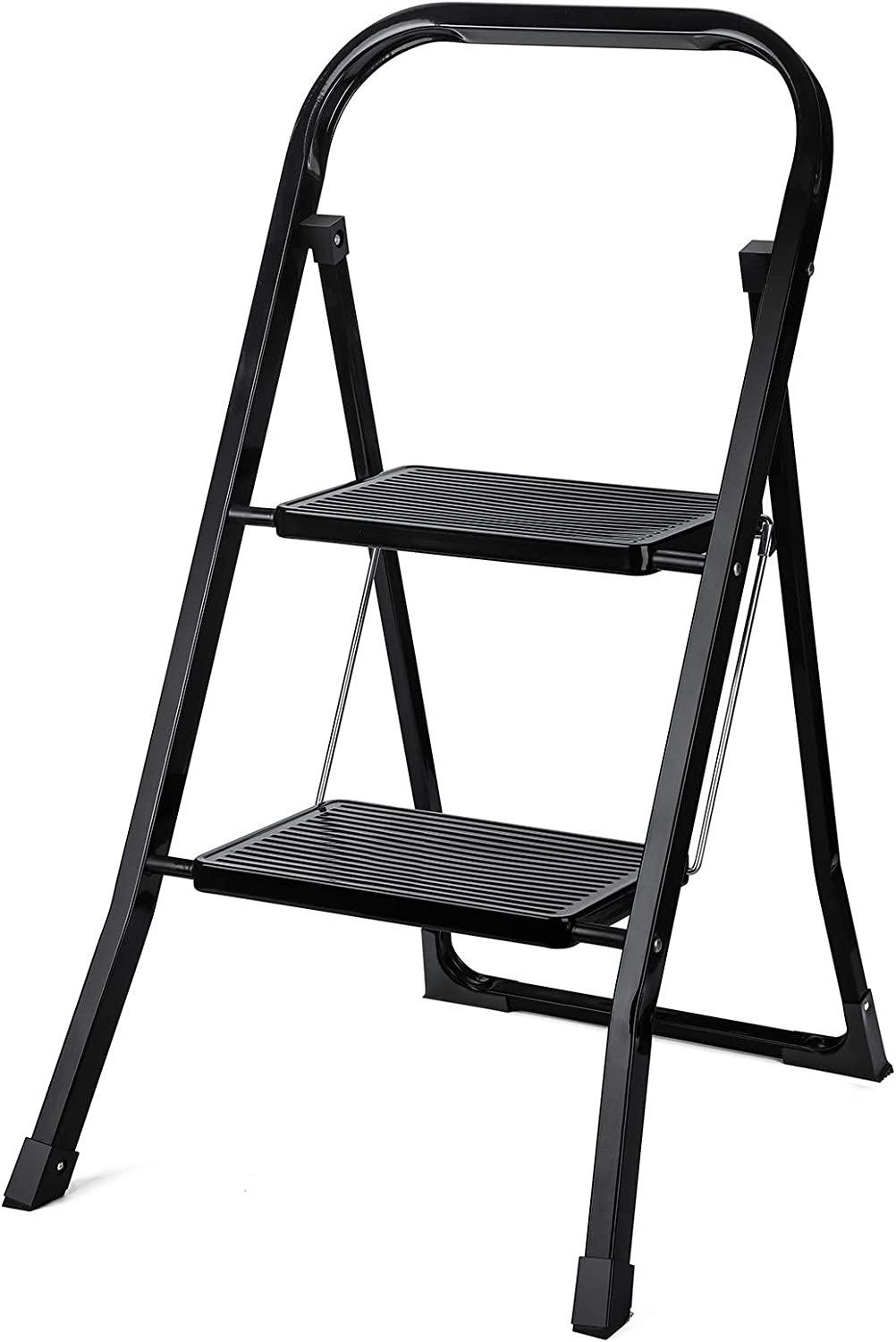Delxo 2 Step Ladder Folding Step Stool Ladder with Handgrip Anti-Slip Sturdy and Wide Pedal,Convenient and Lightweight for Use Portable Step Stool Steel 330lbs Black (2 feet): Kitchen & Dining