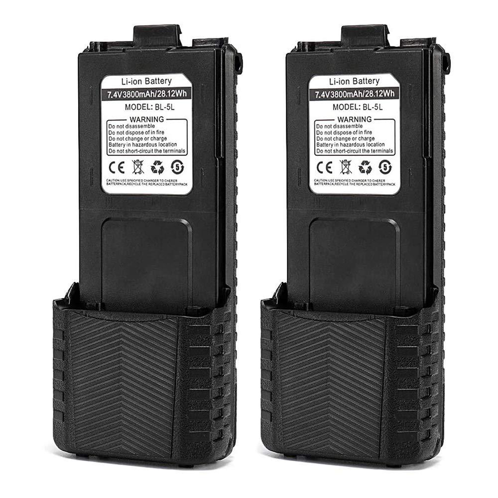 Baofeng BL-5 3800 mAh batería extendida Compatible con UV-5R UV-5RTP UV-5R Plus RD-5R, 2 Unidades, Color Negro: Amazon.es: Electrónica