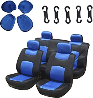 Seat Cover cciyu Universal Car Seat Cushion w/Headrest - 100% Breathable Washable Automotive Seat Covers Replacement Replacement fit for Most Cars Trucks Vans (Blue on Black)