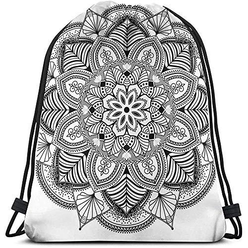 Bolsa de cordón con cordón y diseño étnico floral con líneas adornadas de azulejos bohemio, diseño de círculos, deporte, bolsa de viaje, bolsa de gimnasio