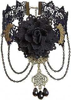 Womens Lace Necklace Gothic Flower Jewelry Vintage Lace Pendant Women Accessories Choker Necklace Black False Collar Statement Necklaces GN-112