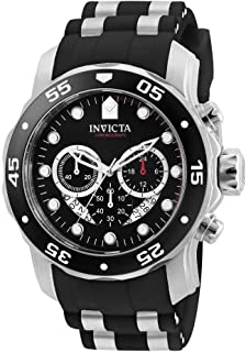 Men's Pro Diver Scuba 48mm Stainless Steel Quartz Watch with Black Silicone Strap, Black (Model:...