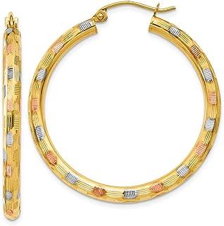 14k Multi-Tone Gold Textured Hoop Earrings 39x3 mm