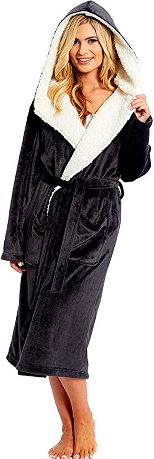 Dressing Gown for Women with Hood Super Soft Fluffy Hooded Bathrobe Ladies Plush Fleece Perfect Loungewear Long Robe Gifts for Mum /& Wife