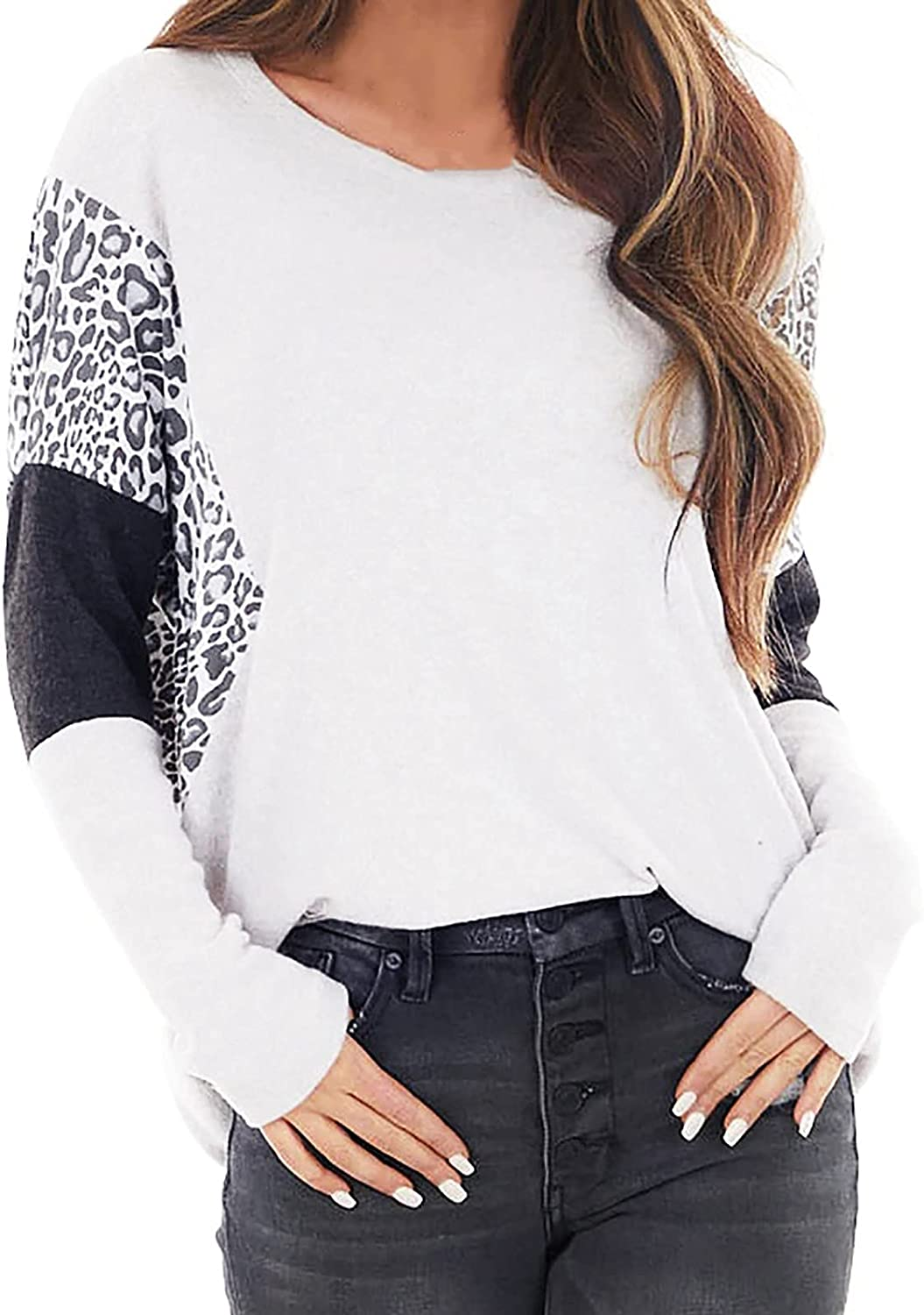 Leopard Stitching Print Blouse for Women Color Matching Long Sleeve Round Neck Shirts Casual Loose Tunic Tops Tops