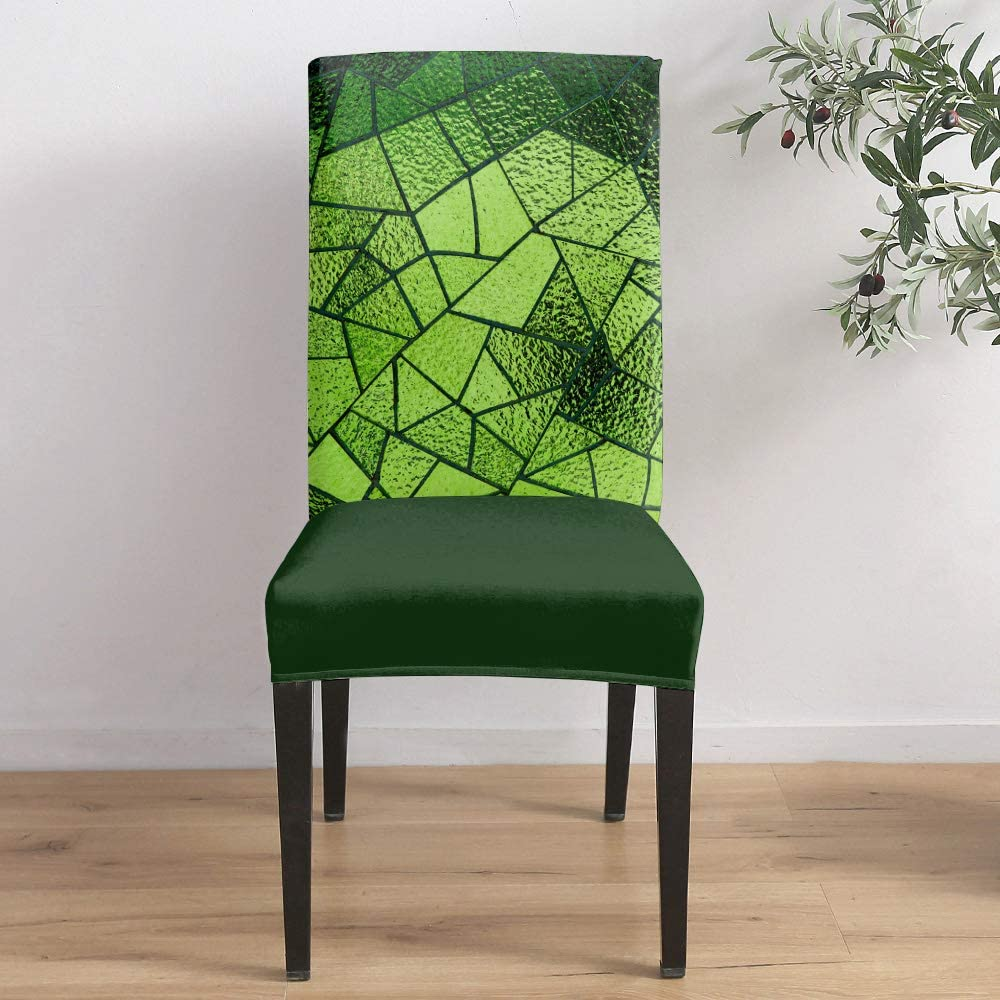 famous Dining Room Stretch Chair Cover 3D Green Slipcover Oakland Mall Printed Glass