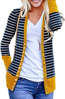 Women's Long Sleeve Striped Snap Button Down Contrast Color V Neck Cardigans