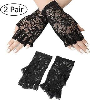 Kungfu Mall Damen Schwarz Fingerlose Spitze Handschuhe Kostümfest Zubehör für Halloween Party Dekoration Handschuhe (2 para)
