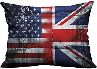 RuppertTextile Creative Pillowcase Alliance Togetherness Theme Composition of UK and USA Flags Vintage Without coreW13 x L13