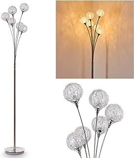 Lampadaire Kitee en métal de couleur chrome - Luminaire sur pied pour salon - séjour - chambre à coucher - cuisine