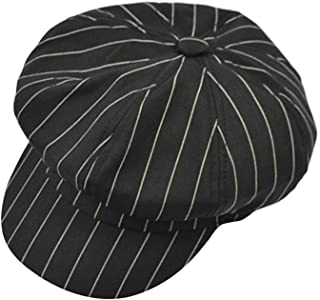 Wild Casual Beret Beret Men and Women Retro Painter Hat England Lattice Octagonal Hat (Color : Black, Size : M (56-58cm))