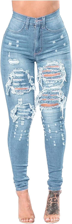 Women's Ripped Mom Jeans High Waisted Fray Hem Skinny Denim Capri Pants Butt Lift Slim Fit Distressed Jeans Pants