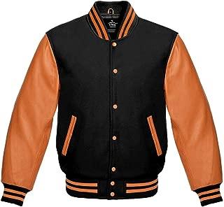 Varsity Jacket Baseball Letterman Bomber School of Black Wool and Genuine Orange Leather Sleeves