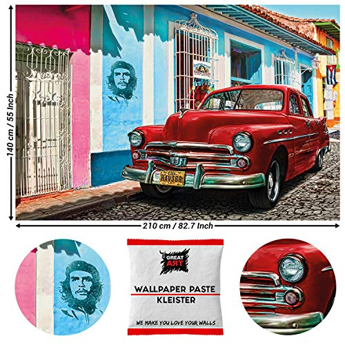 Great Art Photo Wallpaper Old Timer Car Decoration 210x140 cm / 82.7x55in – Urban Havana Street Cuban Red Chevrolet Che Guevara Illustration Artwork Mural – 5 Pieces Includes Paste