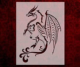 Tribal Full Body Dragon 8.5 x 11 Inches Stencil (544)