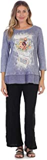 Women's Galerie Mineral Washed Cotton Georgette Contrast Tunic Top