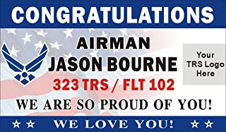 Alice Graphics 3ftX5ft Custom Personalized Congratulations Airman U.S. (US) Air Force Basic Military Training Graduation Banner Sign Poster with Air Force and Your TRS Logo (Flag Background)