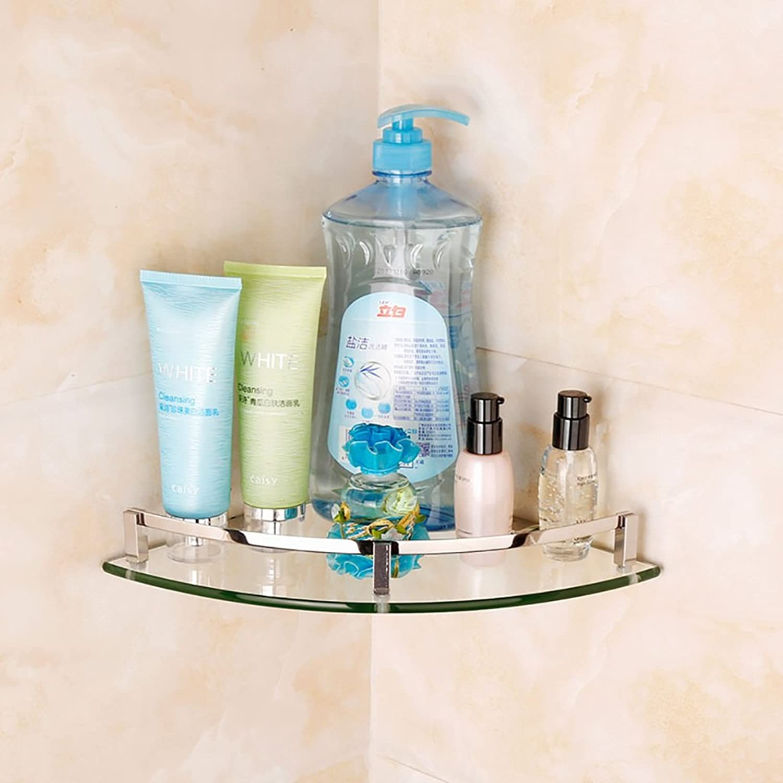 Bathroom Shelf 304 Stainless Steel Tripod Bathroom Glass Shelf Bathroom Swivel (color   1 )