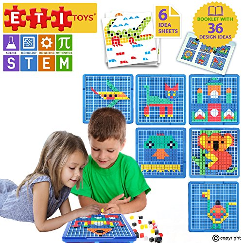 ETI Toys   STEM Learning   490 Piece Mosaic Puzzle; Build Cat, House, Alligator, and More! 100% Non-Toxic, Fun, Creative Skills Development! Best Gift, Toy for 3, 4, 5 Year Old Boys and Girls.