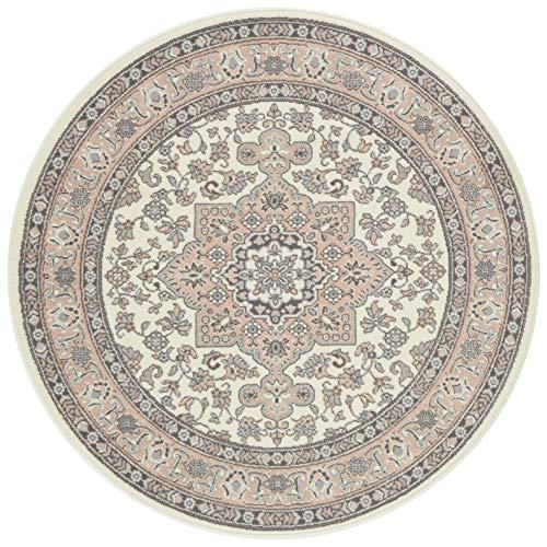 Nouristan Orientalischer Rundteppich Kurzflor Teppich Parun Täbriz Creme Rosa, ø 160 cm