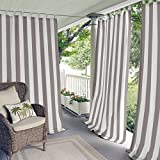Elrene Home Fashions Highland Cabana Stripe Indoor/Outdoor Adhesive Loop Fastener Tab Top Window Curtain Panel for Patio, Pergola, Porch, Deck, and Lanai, 50'x84', Gray