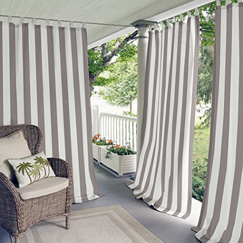 """Elrene Home Fashions Highland Stripe Indoor/Outdoor Adhesive Loop Fastener Tab Top Window Curtain Panel for Patio, Pergola, Porch, Deck, Lanai, and Cabana, 50""""x108"""", Gray"""