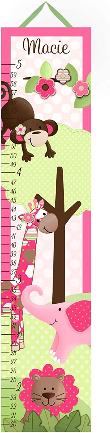 Canvas GROWTH CHART Pink and Brown Girls Jungle Safari Bedroom Baby Nursery Wall Art GC0058