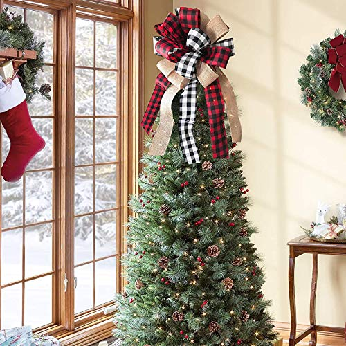 lheaio Christmas Tree Topper,30x13 Inches Buffalo Plaid Toppers Bow with Black&Red Streamer Wired Edge for Christmas Decoration (Black Red, One Size)