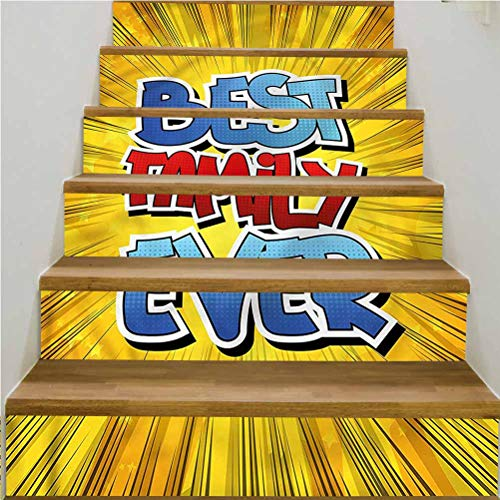 "LCGGDB Family 3D Self-Adhesive Stair Riser Decal, Best Family Ever Words Vinyl Staircase Stickers Wallpaper Decor, 7""x39.3""x6 Pcs, for Bathroom Stair Sticker"