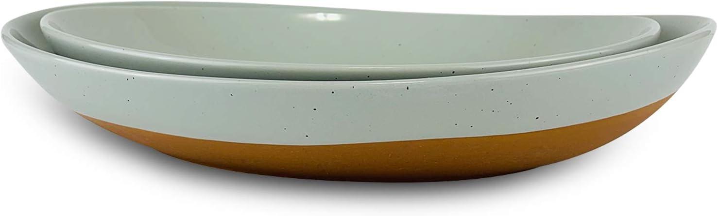 Mora Ceramic Large Serving Max 58% OFF Bowls- Set Platters Max 55% OFF Ent Oval for of 2