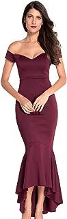 Womens Fishtail Long Evening Dress Off Shoulder Party Dress