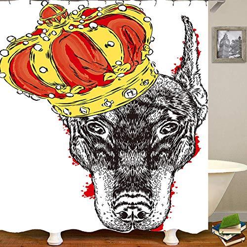 chuanglanja Waschbarer Badvorhang Wasserdichter Polyester-Duschvorhang mit Animal-Print vierteiliges Set Kupferschnalle 180 * 180cm weiß