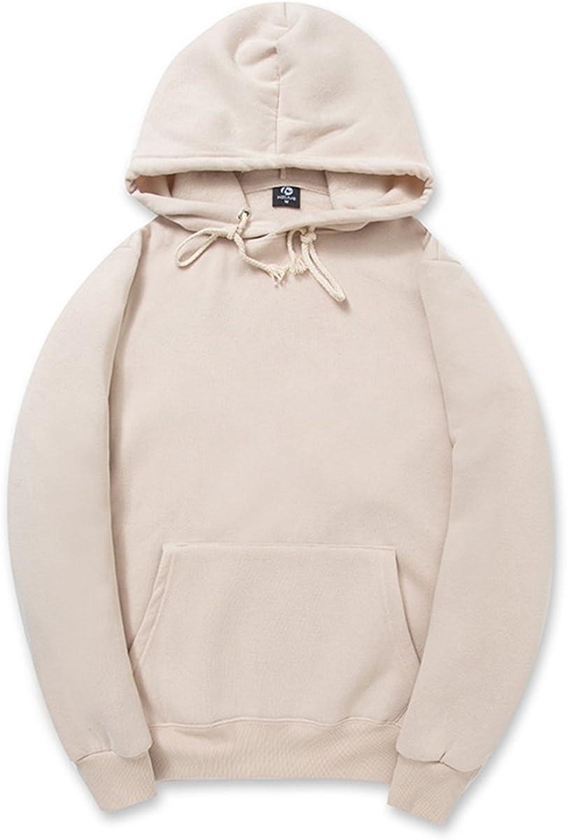 CORIRESHA Simple Style Soft Cotton Plain Color Hoodie Long Sleeve Drawstring Hooded Sweatshirt