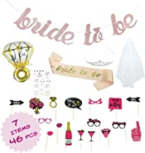 Bride to be decorations - Bachelorette Party Kit - Bridal Shower Supplies - Veil and Tiara Bachelorette Kit - Bride To Be Sash and Banner - Tribe Tattoos - Ring Balloon - Bachelorette Photo Booth - Rose Gold Bachelorette Kit